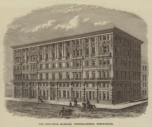 The Grosvenor Mansions, Victoria-Street, Westminster. Illustration for The Illustrated London News, 15 February 1868.