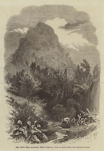 The Lion's Head Mountain, near Capetown, Cape of Good Hope. Illustration for The Illustrated London News, 22 February 1868.