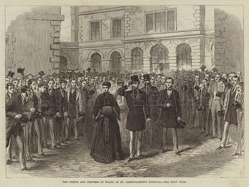 The Prince and Princess of Wales at St Bartholomew's Hospital. Illustration for The Illustrated London News, 29 February 1868.
