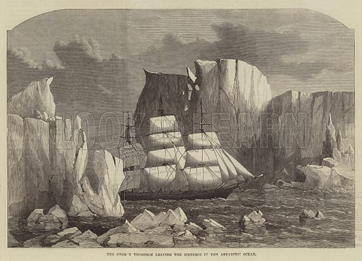 The George Thompson leaving the Icebergs in the Antarctic Ocean
