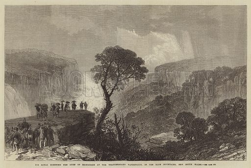 His Royal Highness the Duke of Edinburgh at the Weatherboard Waterfalls, in the Blue Mountains, New South Wales. Illustration for The Illustrated London News, 2 May 1868.