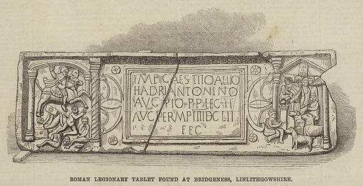 Roman Legionary Tablet found at Bridgeness, Linlithgowshire. Illustration for The Illustrated London News, 23 May 1868.