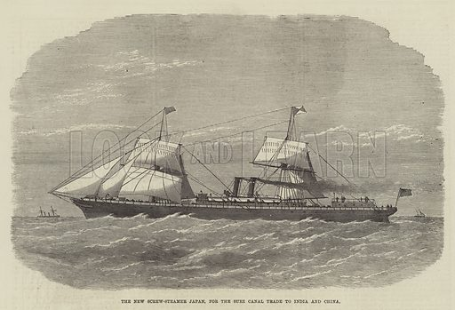 The New Screw-Steamer Japan, for the Suez Canal Trade to India and China. Illustration for The Illustrated London News, 31 August 1872.