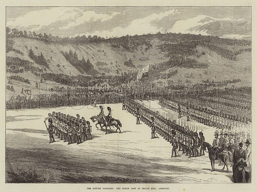 The Autumn Campaign, the March past at Beacon Hill, Amesbury. Illustration for The Illustrated London News, 21 September 1872.