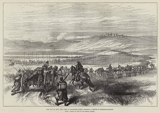 The War in Asia, the Army of Mustapha Pasha crossing a Bridge of Bullock-Waggons. Illustration for The Illustrated London News, 18 August 1877.