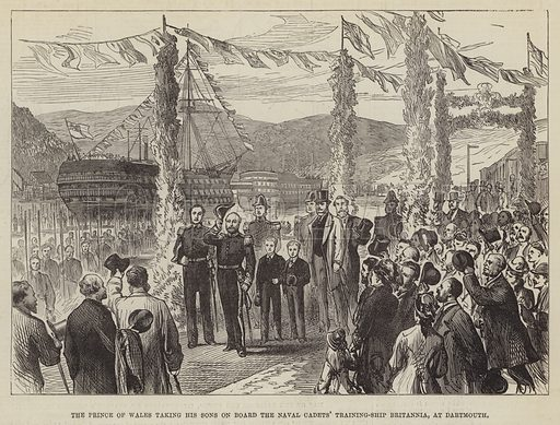 The Prince of Wales taking his Sons on Board the Naval Cadets' Training-Ship Britannia, at Dartmouth. Illustration for The Illustrated London News, 27 October 1877.