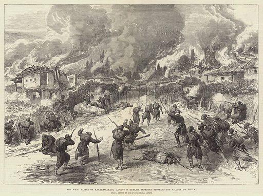 The War, Battle of Karahassankoi, 30 August, Turkish Infantry storming the Village of Kizila. Illustration for The Illustrated London News, 22 September 1877.