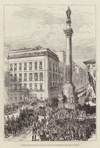 Funeral of the late King of Italy at Rome, the Procession in the Piazza di Spagna. Illustration for The Illustrated London News, 2 February 1878.
