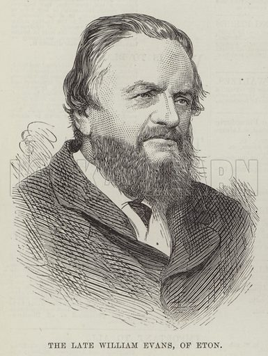The late William Evans, of Eton. Illustration for The Illustrated London News, 2 February 1878.