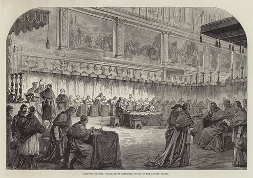 Election of Pope, Conclave of Cardinals voting in the Sistine Chapel. Illustration for The Illustrated London News, 9 March 1878.