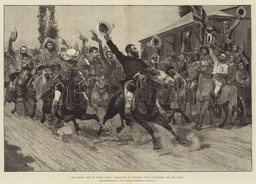 The Basuto War in South Africa, Departure of Burghers from … stock ...