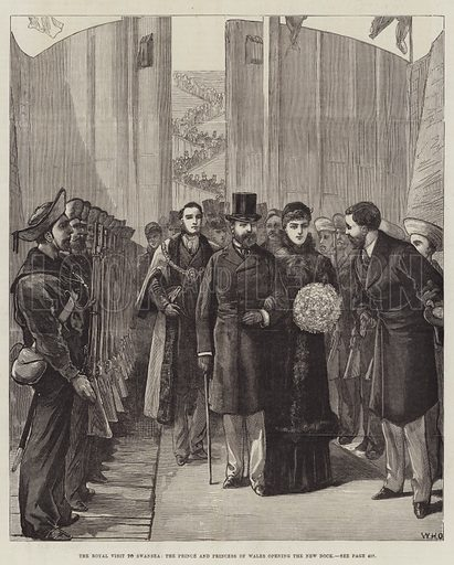 The Royal Visit to Swansea, the Prince and Princess of Wales opening the new Dock. Illustration for The Illustrated London News, 29 October 1881.