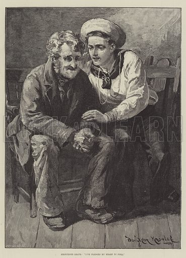"""Shortened Leave, """"I've pledged my Heart to poll"""". Illustration for The Illustrated London News, 10 January 1885."""