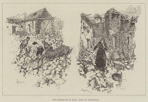 The Earthquake in Spain, Ruins of Albunuelas. Illustration for The Illustrated London News, 31 January 1885.