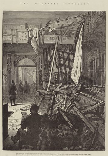 The Dynamite Outrages, the Effects of the Explosion in the House of Commons. Illustration for The Illustrated London News, 31 January 1885.