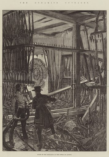 The Dynamite Outrages, Scene of the Explosion in the Tower of London. Illustration for The Illustrated London News, 31 January 1885.