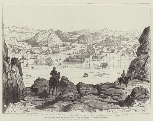 The Khartoum Relief Expedition, Arrival of First Column at the Wells of Gakdul. Illustration for The Illustrated London News, 7 February 1885.