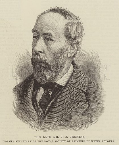 The late Mr J J Jenkins, Former Secretary of the the Royal Society of Painters in Water Colours. Illustration for The Illustrated London News, 28 March 1885.