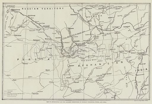 Map of Afghanistan and the Adjacent Territories of Russian Turkestan, Persia, and India. Illustration for The Illustrated London News, 18 April 1885.