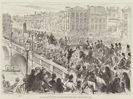 "The Royal Visit to Ireland, the Royal Party passing over ""Parnell Bridge,"" Cork. Illustration for The Illustrated London News, 25 April 1885."