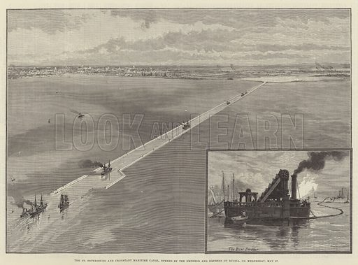 The St Petersburg and Cronstadt Maritime Canal, opened by the Emperor and Empress of Russia, on Wednesday, 27 May. Illustration for The Illustrated London News, 6 June 1885.