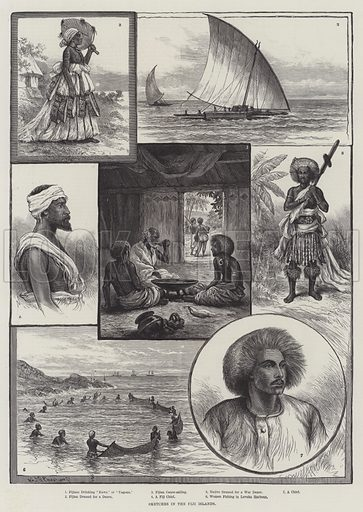 Sketches in the Fiji Islands. Illustration for The Illustrated London News, 27 August 1887.