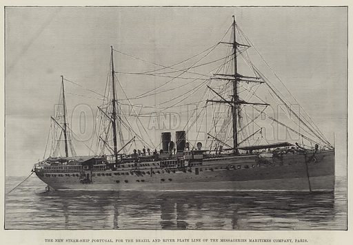 The New Steam-Ship Portugal, for the Brazil and River Plate Line of the Messageries Maritimes Company, Paris. Illustration for The Illustrated London News, 10 September 1887.