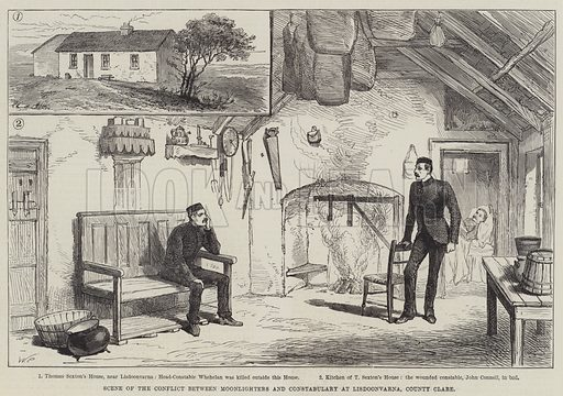 Scene of the Conflict between Moonlighters and Constabulary at Lisdoonvarna, County Clare. Illustration for The Illustrated London News, 24 September 1887.