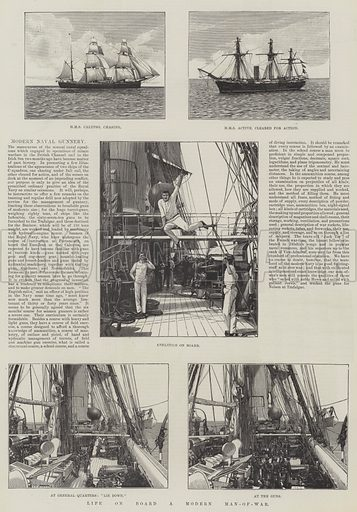 Life on Board a Modern Man-of-War. Illustration for The Illustrated London News, 1 October 1887.