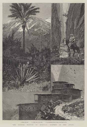 The British Mission to Morocco, Scenery in the Atlas. Illustration for The Illustrated London News, 1 October 1887.