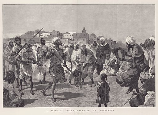 A Street Performance in Morocco. Illustration for The Illustrated London News, 31 December 1887.