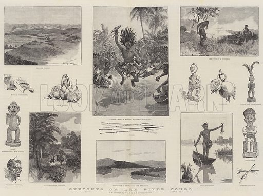 Sketches on the River Congo. Illustration for The Illustrated London News, 8 October 1887.