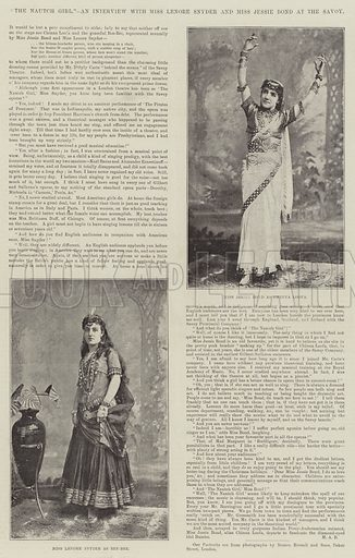 """""""The Nautch Girl,"""" an Interview with Miss Lenore Snyder and Miss Jessie Bond at the Savoy. Illustration for The Illustrated London News, 15 August 1891."""