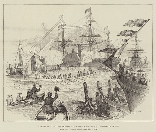 Arrival of King Louis Philippe and a French Squadron at Portsmouth in 1844. Illustration for The Illustrated London News, 29 August 1891.