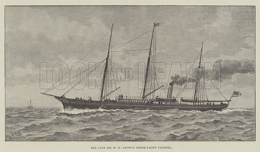 The late Mr W H Smith's Steam-Yacht Pandora. Illustration for The Illustrated London News, 17 October 1891.
