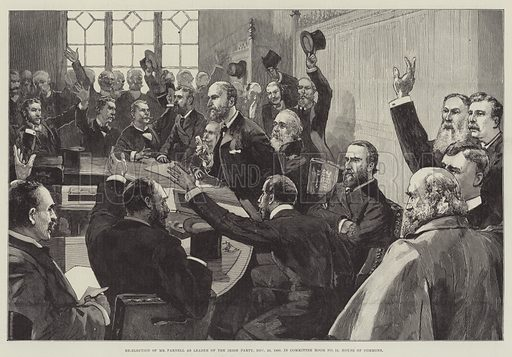 Re-Election of Mr Parnell as Leader of the Irish Party, 25 November 1890, in Committee Room No 15, House of Commons. Illustration for The Illustrated London News, 17 October 1891.
