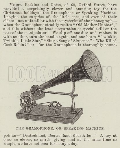 The Gramophone, or Speaking Machine. Illustration for The Illustrated London News, 19 December 1891.