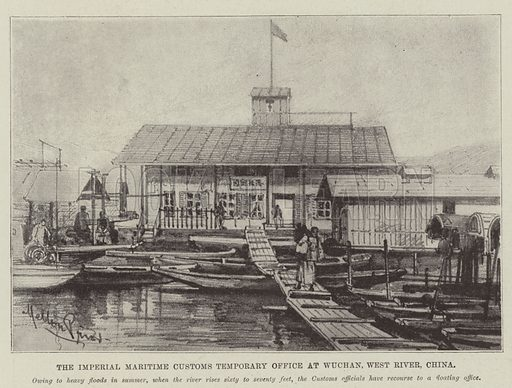 The Imperial Maritime Customs Temporary Office at Wuchan, West River, China. Illustration for The Illustrated London News, 15 July 1899.