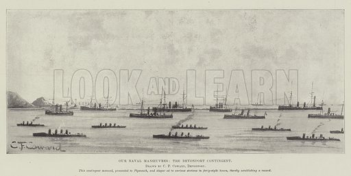 Our Naval Manoeuvres, the Devonport Contingent. Illustration for The Illustrated London News, 22 July 1899.