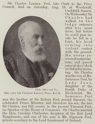 The late Sir Charles Lennox Peel, KCB. Illustration for The Illustrated London News, 26 August 1899.