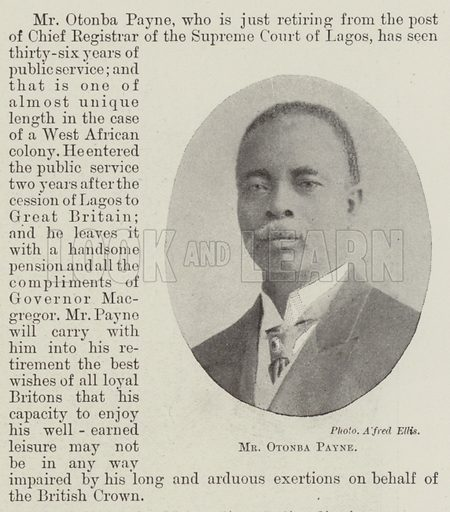 Mr Otonba Payne. Illustration for The Illustrated London News, 28 October 1899.