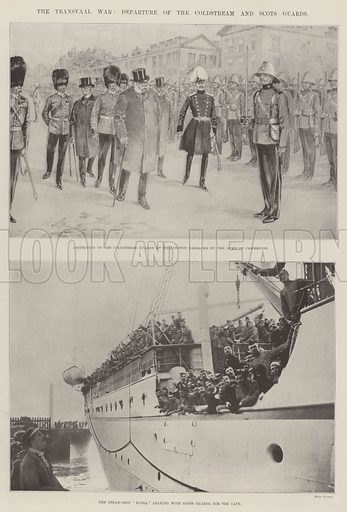 The Transvaal War, Departure of the Coldstream and Scots Guards. Illustration for The Illustrated London News, 28 October 1899.