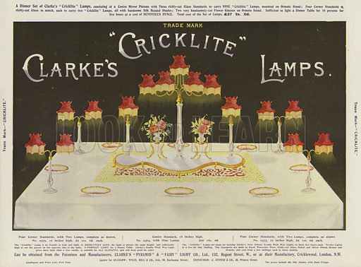 Advertisement, Clarke's Cricklite Lamps. Illustration for The Illustrated London News, 1899.