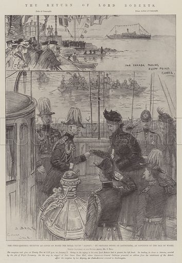 """The Return of Lord Roberts, the Field-Marshal received at Cowes on Board the Royal Yacht """"Alberta"""" by Princess Henry of Battenberg, as Governor of the Isle of Wight. Illustration for The Illustrated London News, 5 January 1901."""