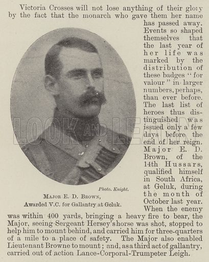 Major E D Brown, awarded VC for Gallantry at Geluk. Illustration for The Illustrated London News, 23 February 1901.