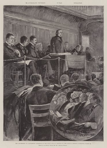 The Archbishop of Canterbury speaking at the Fifth Annual Meeting of the Church Defence Committee, 22 March. Illustration for The Illustrated London News, 30 March 1901.