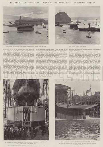 """The America Cup Challenger, Launch of """"Shamrock II"""" at Dumbarton, 20 April. Illustration for The Illustrated London News, 27 April 1901."""