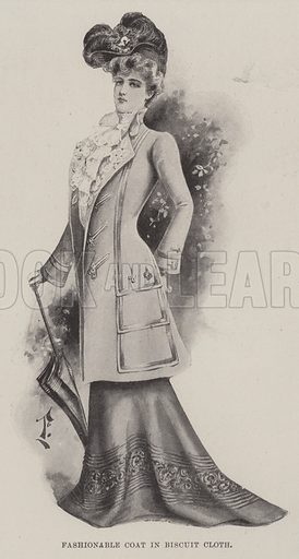 Fashionable Coat in Biscuit Cloth. Illustration for The Illustrated London News, 4 May 1901.