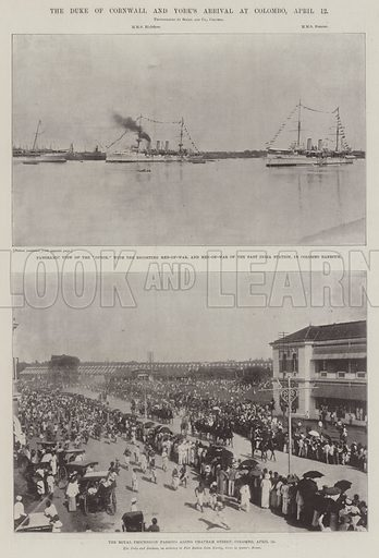 The Duke of Cornwall and York's Arrival at Colombo, 12 April. Illustration for The Illustrated London News, 11 May 1901.