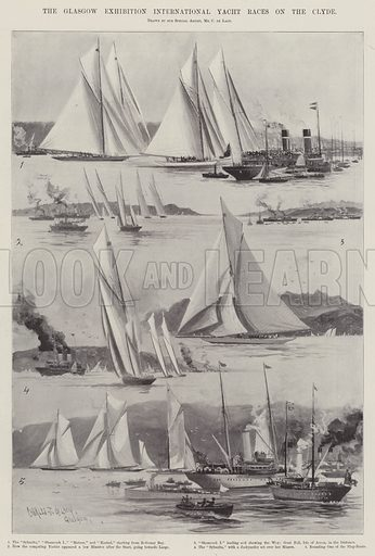 The Glasgow Exhibition International Yacht Races on the Clyde. Illustration for The Illustrated London News, 15 June 1901.